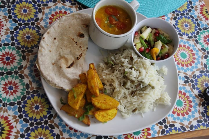a typical meal at my home includes lentil soup, roasted veggies, salad, rice and/or bread