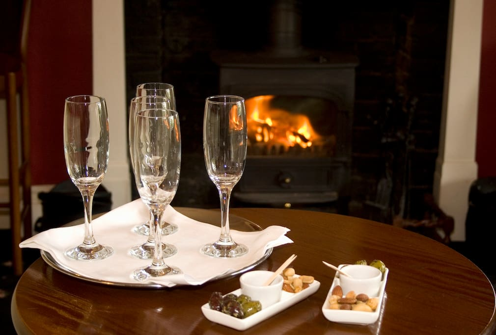 Champagne in front of the fire?