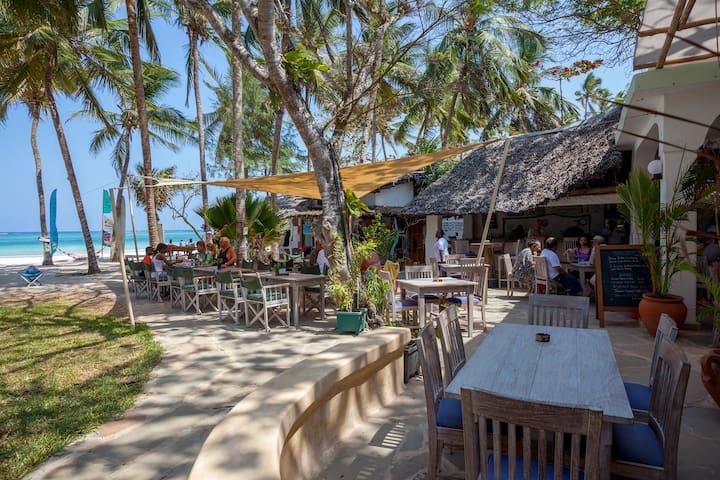 beach bar restaurant on the property. communal area.