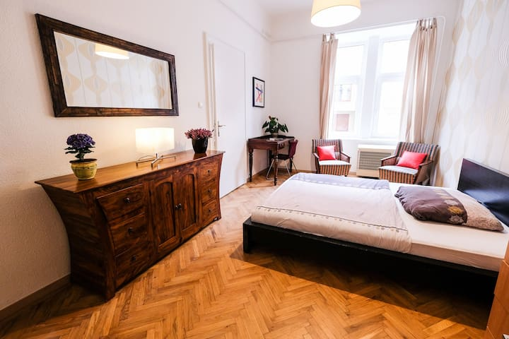 Big Bedroom in Renovated Flat close to the River