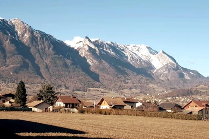 Vue sur les Alpes, entre village et montagne