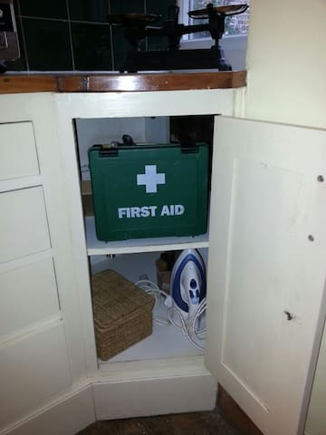 First Aid kit, sewing kit, shoe cleaning kit...