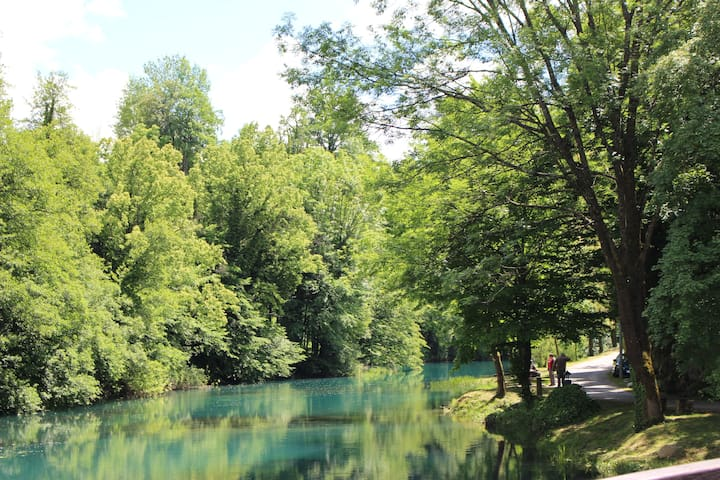 ...River Slunjčica...peacefully streaming towards Rastoke..
