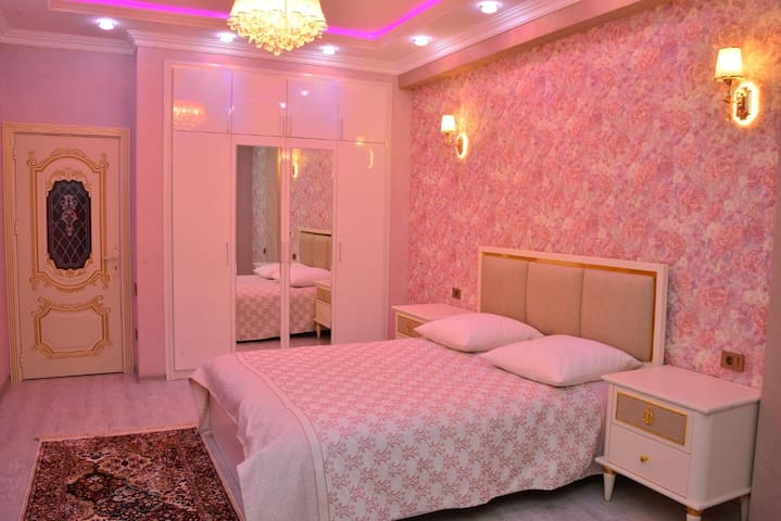 Bed room with beautiful lights