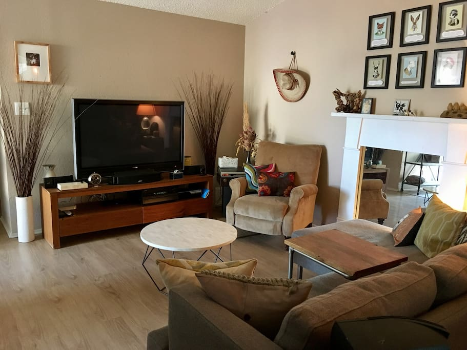 Comfortable living room seating with Google cable and wifi.