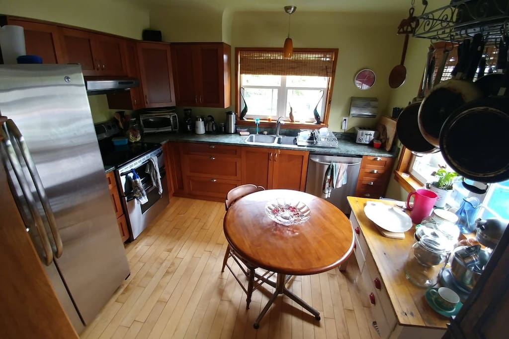 Character kitchen with modern amenities.