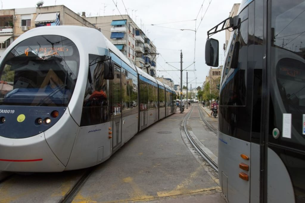 All transports( tram, metro , bus) are 5 minutes from the house by  feet