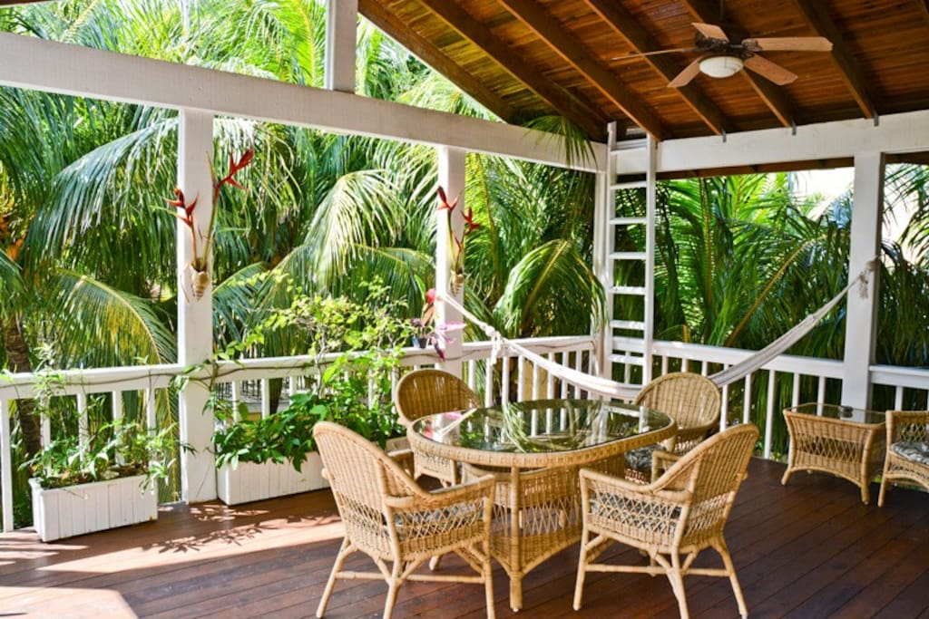 The main deck leads to a smaller roof top sun/star gazing deck with views of the Caribbean Sea