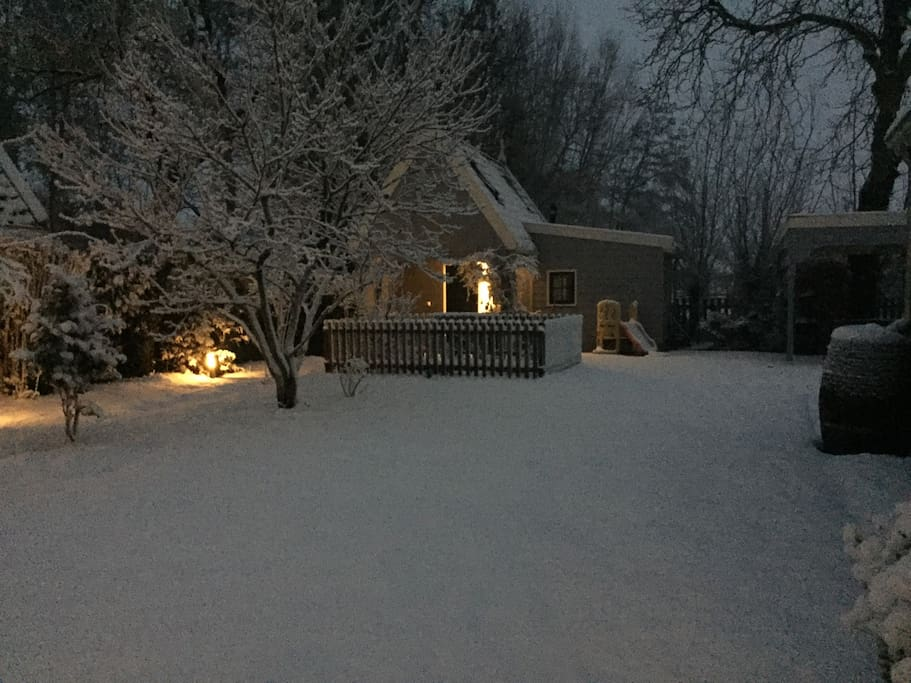 Our guesthouse in the snow.