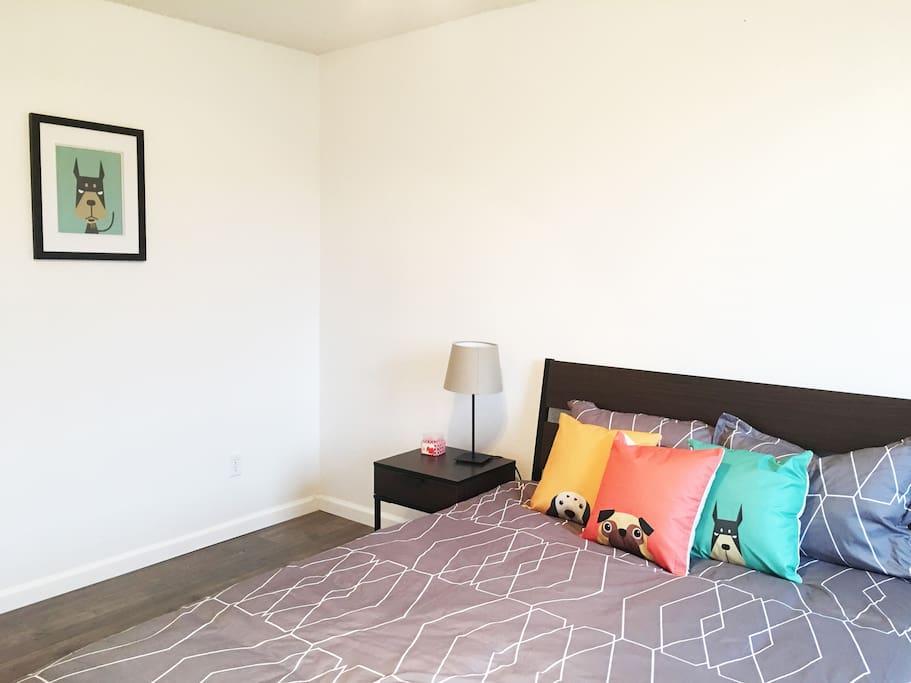 Bedroom #1 with a comfy queen size memory foam mattress