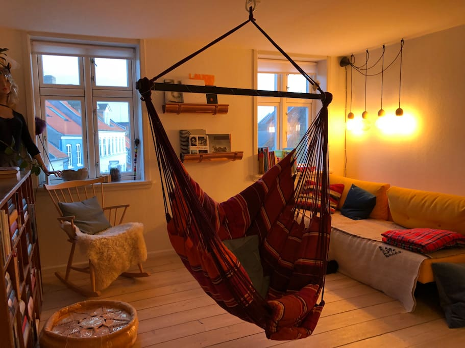 Cosy chill out living room with hammock chair (optional)