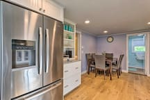 Updated stainless steel appliances highlight the kitchen.