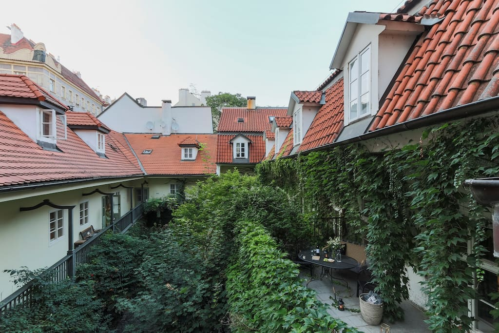 You'll be surrounded by Prague's typical red roofs.