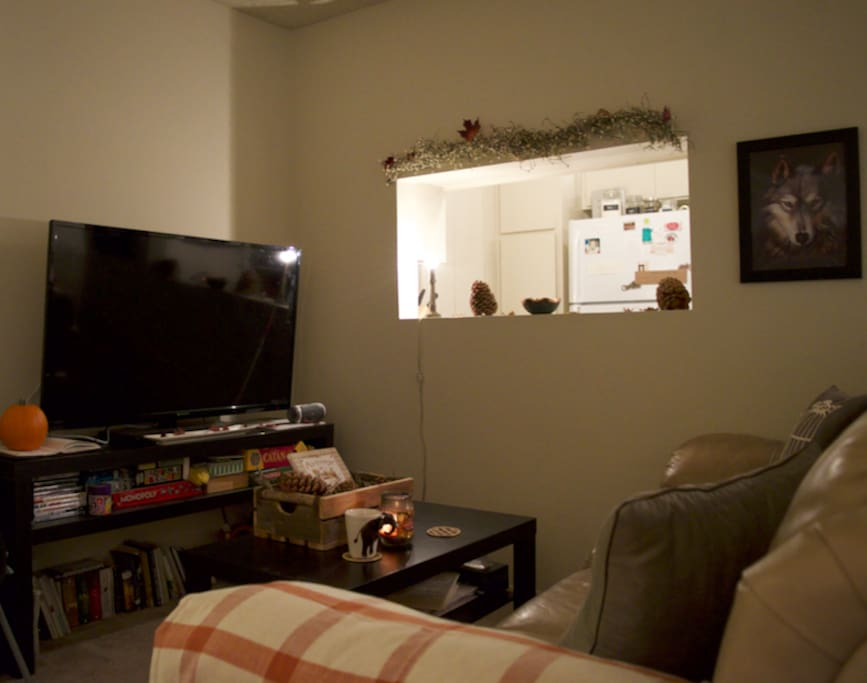 Living area with all the cards/board games you can imagine. Movies, Netflix, Books...