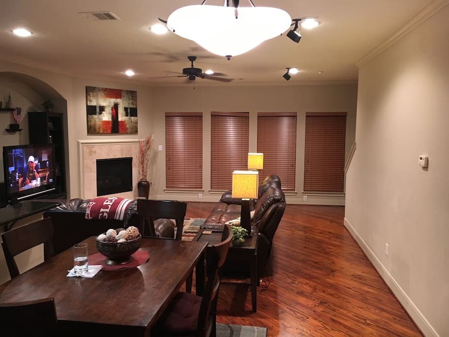 Living room with open floor plan.  Can sleep 2-3 people.  Couch and air mattress available.