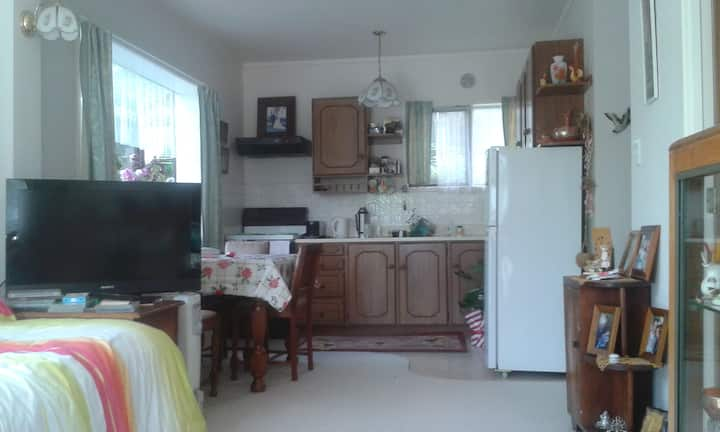 Self contained sunny flat 20 mins from airport