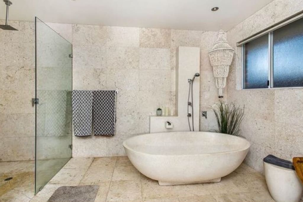 This designer appointed bathroom is perfect for your own private use.