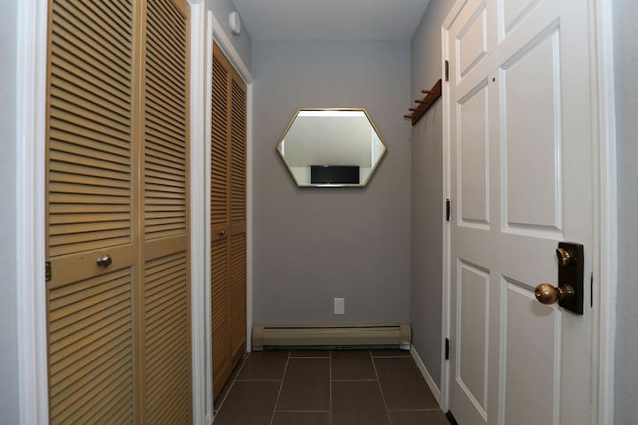 Front door to entry area where enclosed washer/dryer and closet are located.