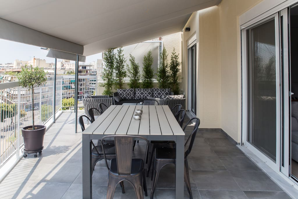 You will love your big private terrace on the top floor of the apartment, with a dining table and chairs and even a seating area. The big tends can be opened and protect you from the hot sunny days, but if you want you can even close them