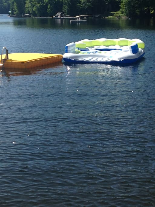 The floating dock and large floatie.