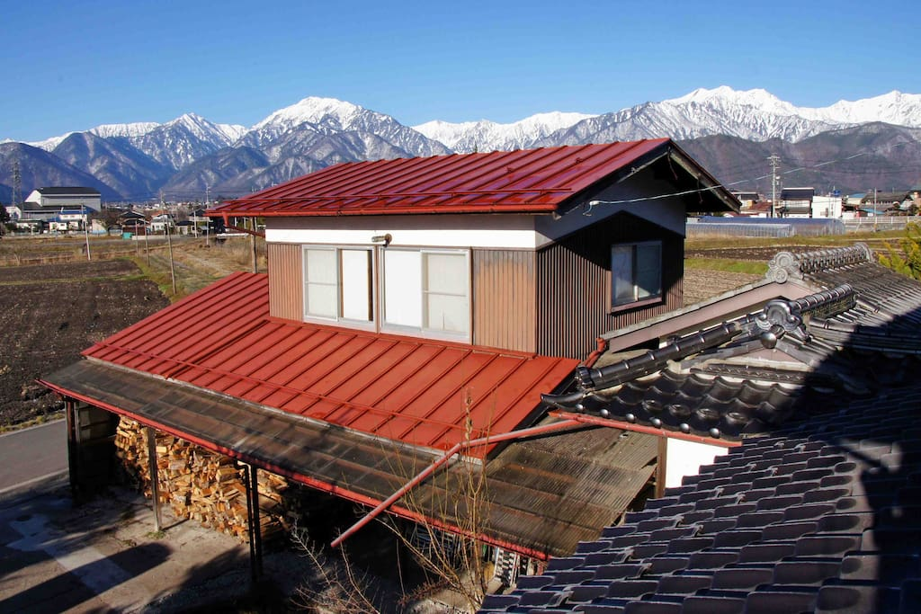 A view from 2nd floor. We can see Japanese northern  alps in front of house