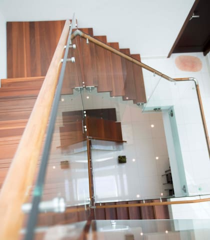 Timber and steel stairs