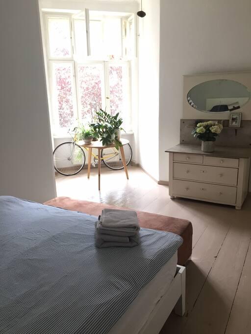bedroom view to quiet court