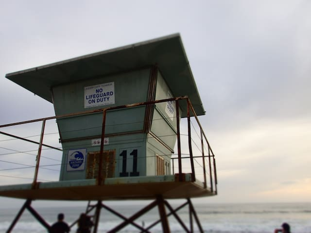 life guard station at beach on duty during seasons