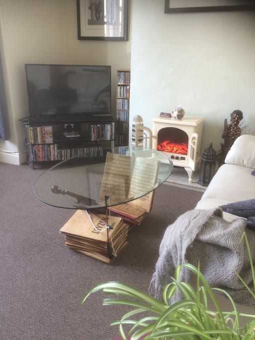 Cosy lounge with electric stove and entertainment unit.