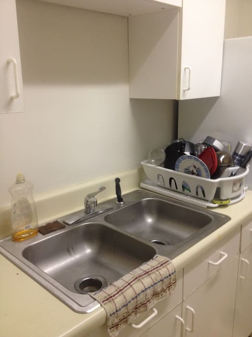 Stainless steel dual dish sink.