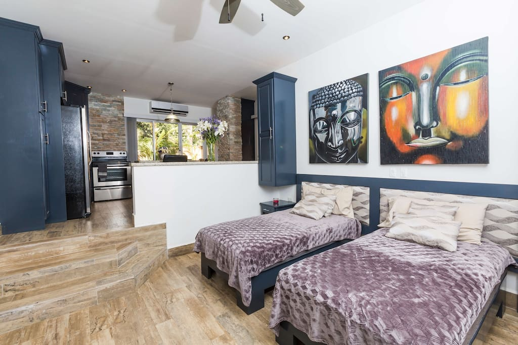New Spacious Studio w/ Sunk in Bedroom! Option for 2 individual beds or 1 king!