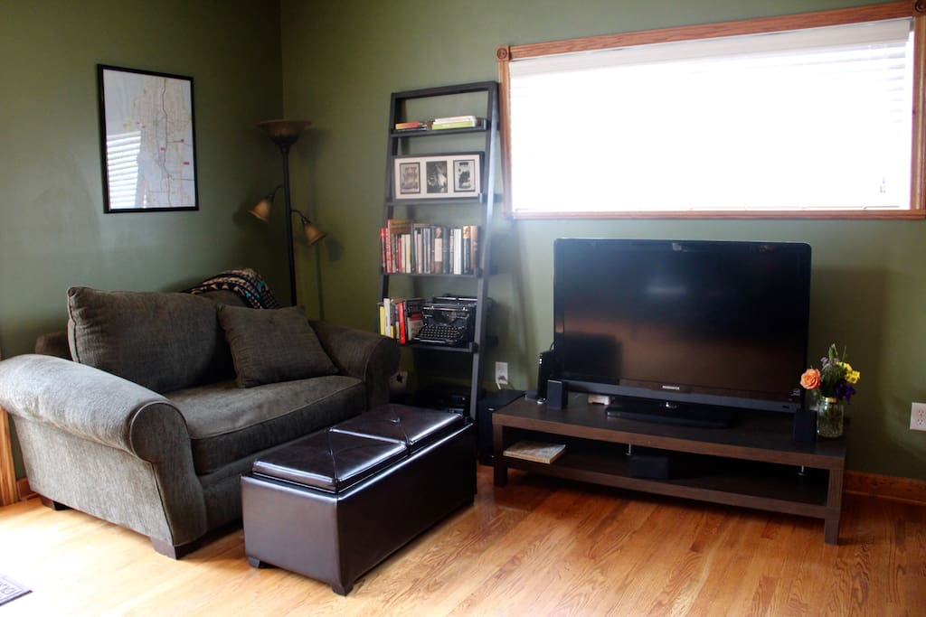 Equipped with premium cable and Apple TV, curl up and watch a movie on the comfy couches.