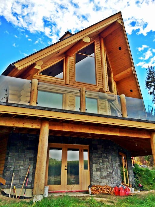 Front view of log home