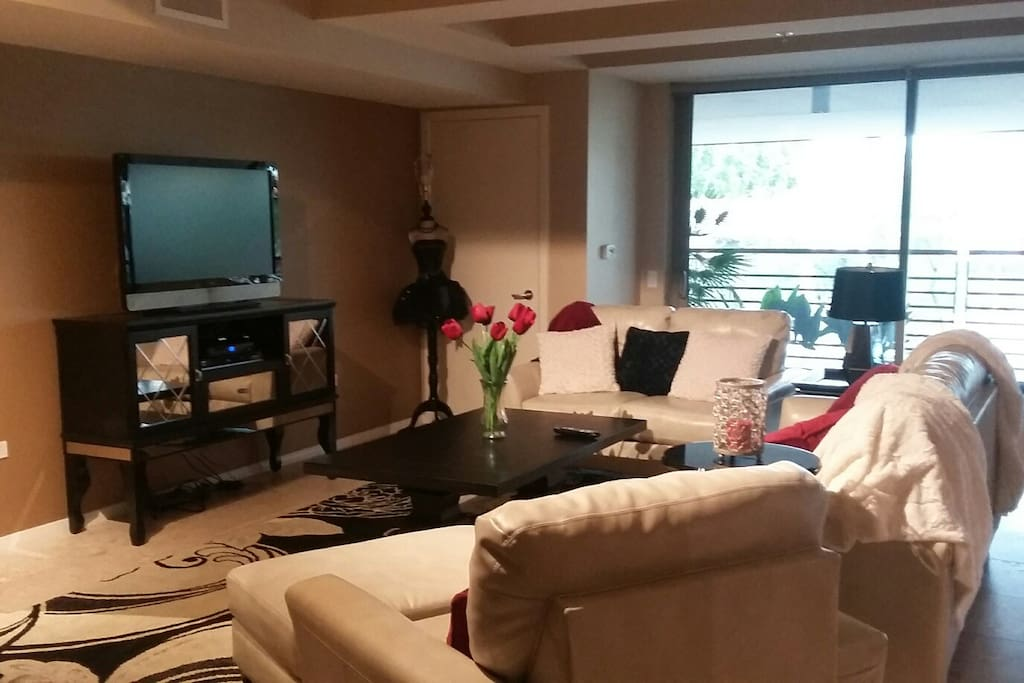 Large TV with cable programming