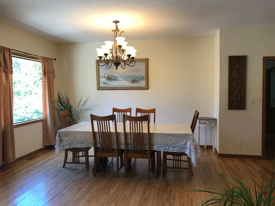 Dining room with many extra chairs for your group.