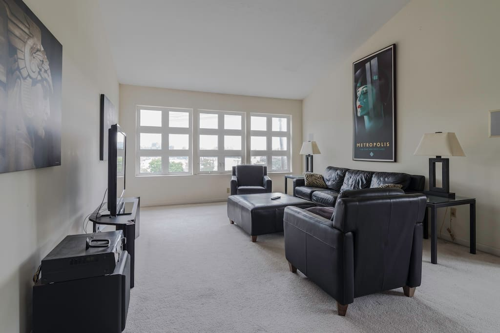 """Private third floor guest loft with Skyline views. Leather furniture. 52"""" TV (with antenna and free Netflix)"""