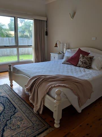 Bedroom 1 King bed, Pillow-top mattress, Room-darkening blinds, fan