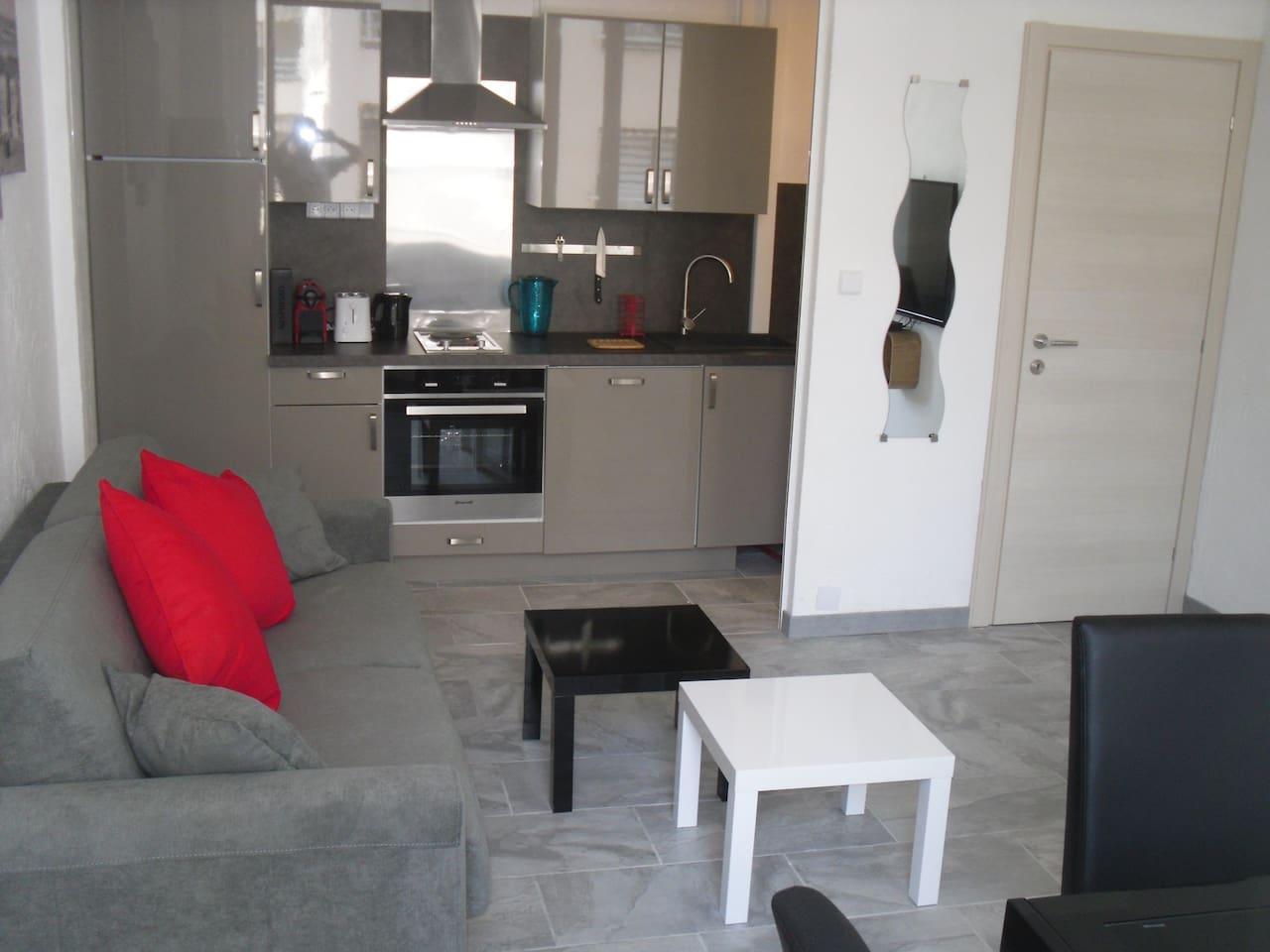 Séjour avec cuisine tout confort dans niche-Living room with open space kitchen