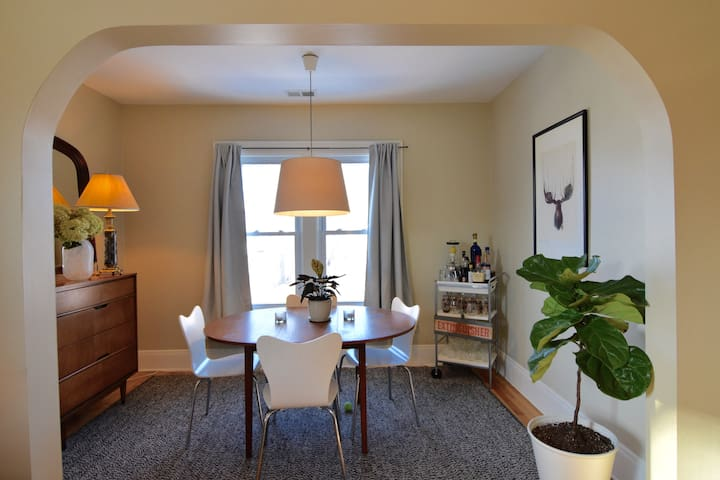 A separate dining room. It's just off the living room, so it can also serve as extra seating.