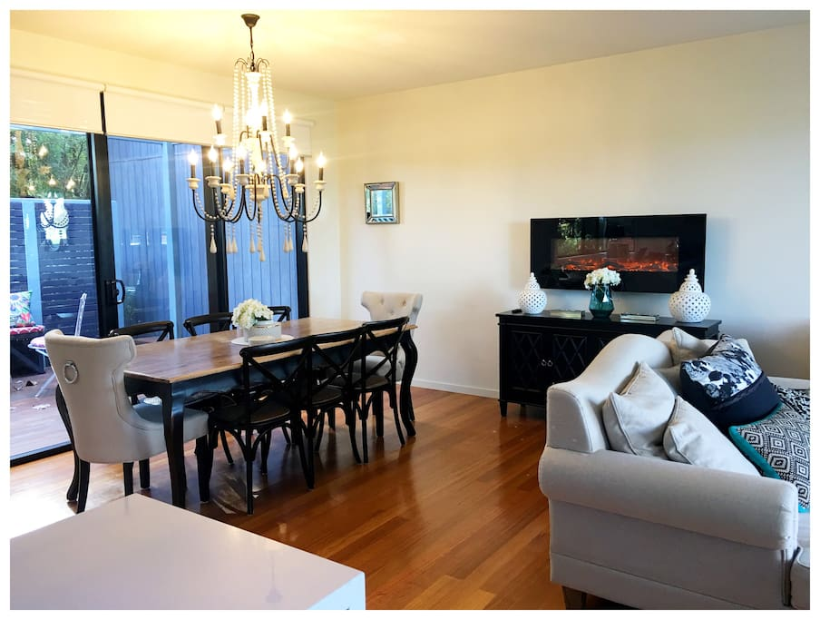 Open plan living and dining area