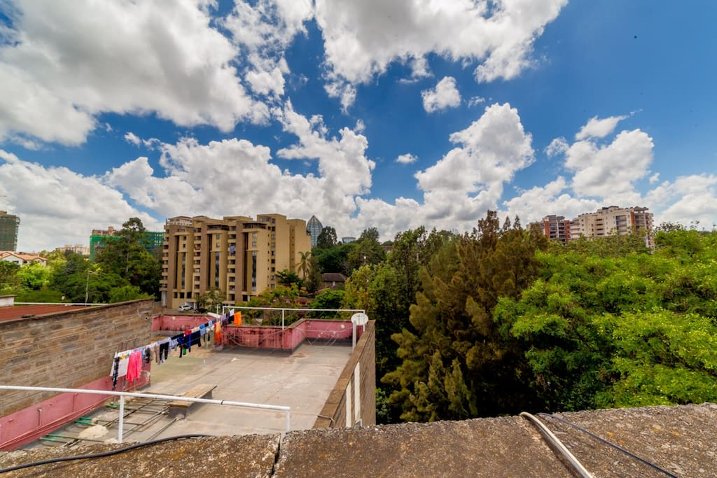 A view from the roof top. The Ngong Hills are visible on a clear day