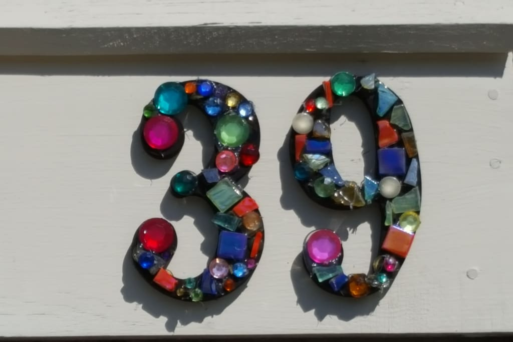A close up of the house number.