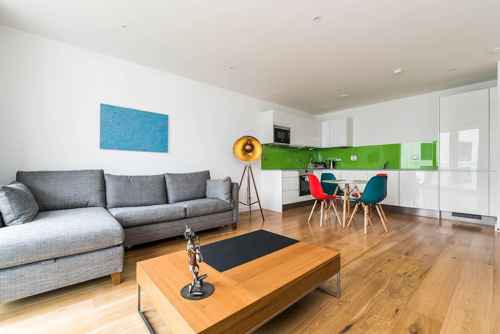 Bright, big, stylish open plan living area