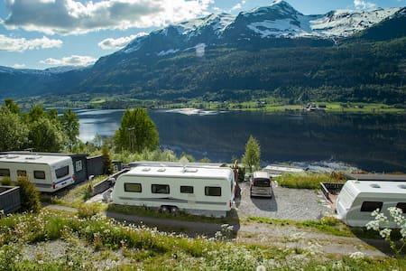 Fantastisk utsikt og solforhold, nær Voss