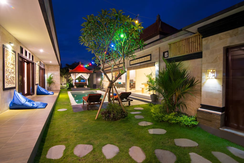 Spacious garden view of kitchen, living-room, gazebo, pool and rooms