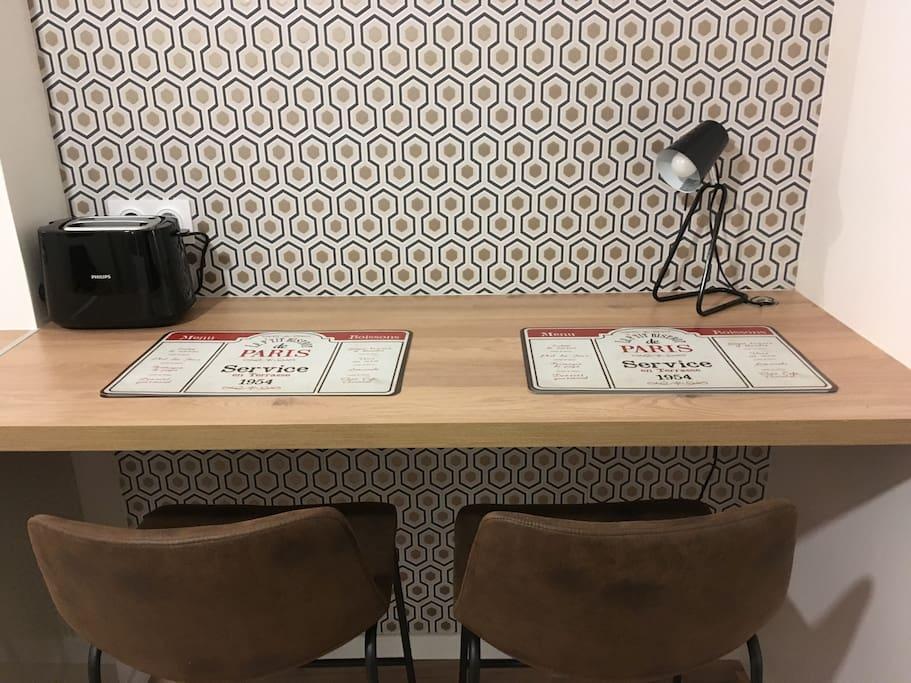 The table for your meals or where you can comfortably work.