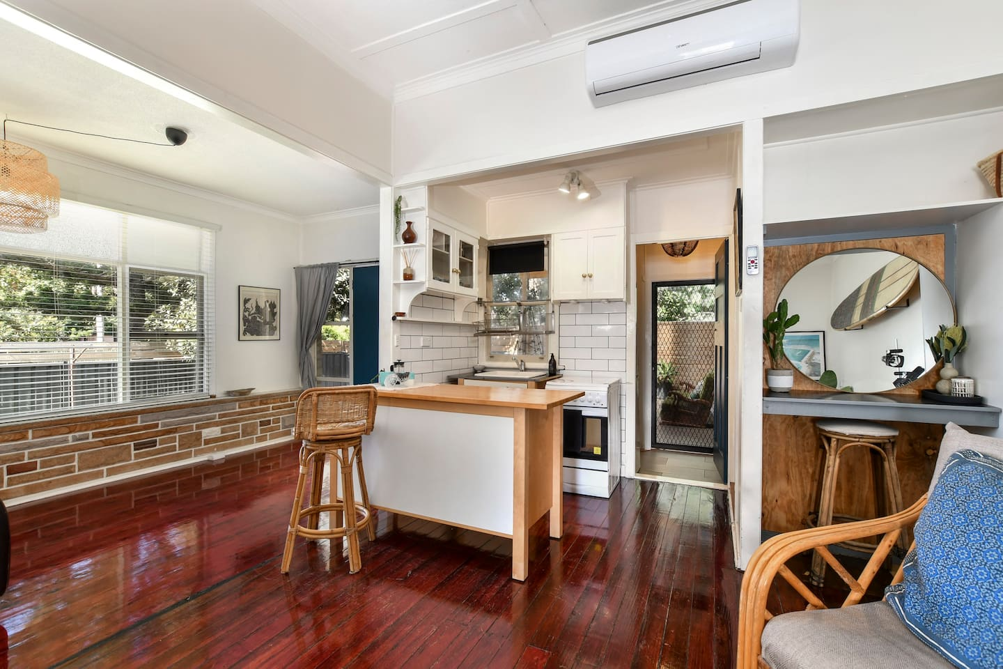 OPEN PLAN LAYOUT,AIR CON,  LIVING ROOM- SMALL KITCHEN fully equipped, oven, cooktop, fridge, microwave, TV with google chrome, and WIFI