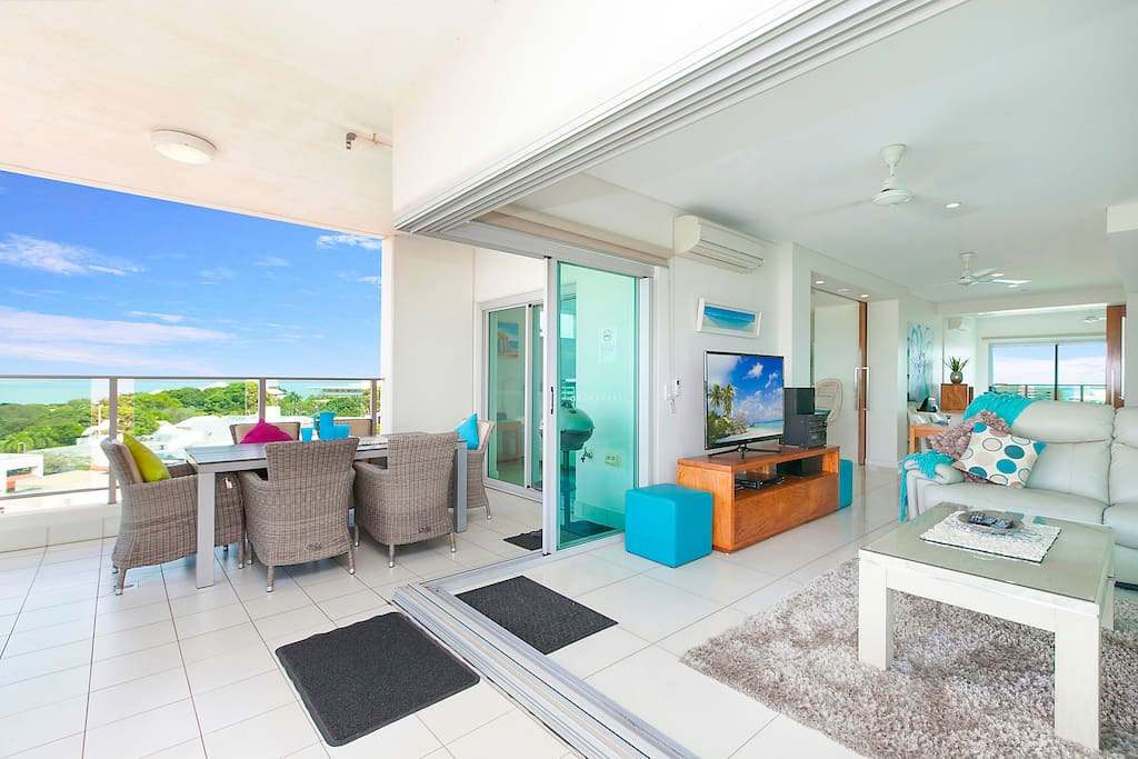 Glass sliding doors out to balcony to extend living space