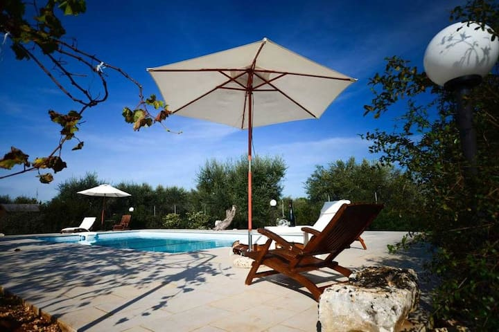Trullo Azzurra with pool in Itria Valley