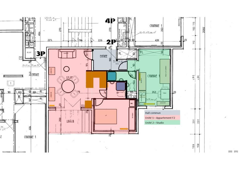 Appartement F2 (en rose)
